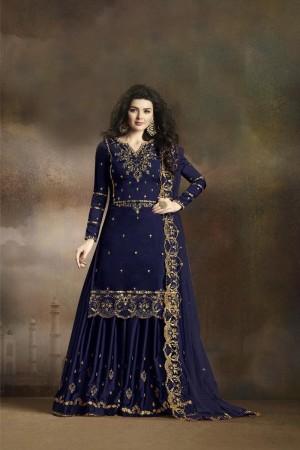 Blue Heavy  Rangoli Silk Georgette Sharara Suit