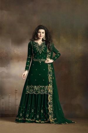 Green Heavy  Rangoli Silk Georgette Sharara Suit