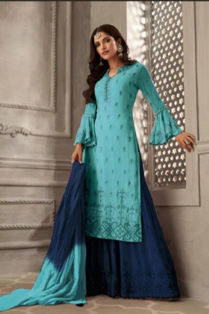 Sky Blue Heavy Faux Georgette Plaazo Suit