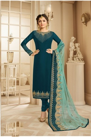 Teal Georgette Churidar Suit