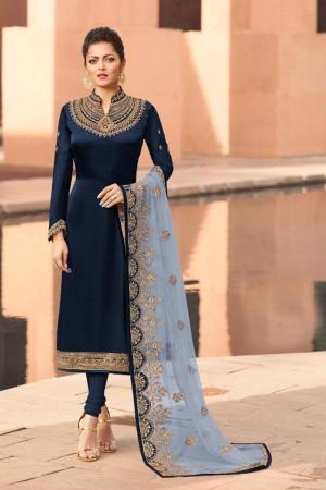 Navy Blue Heavy Georgette Satin Churidar Suit