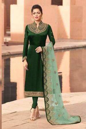 Green Heavy Georgette Satin Churidar Suit
