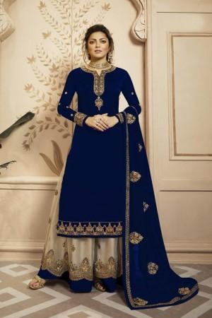 Blue Heavy Faux Georgette Plaazo Suit
