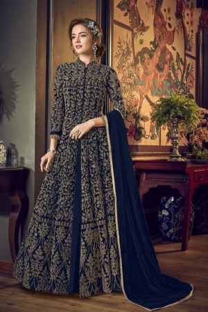 Navy Blue Heavy Butterfly Net Salwar Kameez