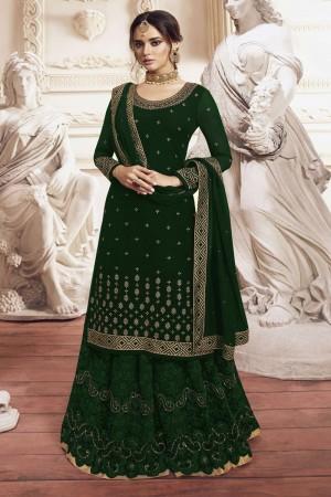 Green Heavy Faux Georgette  Salwar Kameez