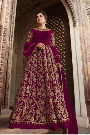 Rani Pink Butterfly Net Anarkali Suit