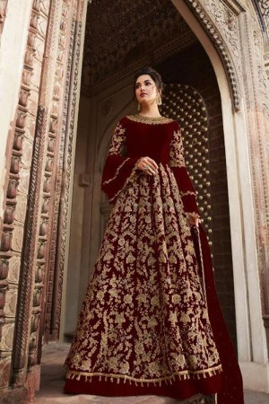 Maroon Butterfly Net Anarkali Suit