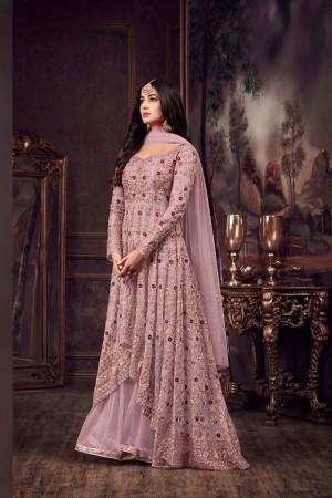 Light purple Net Churidar Suit