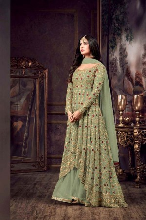 Light Mehendi Net Churidar Suit