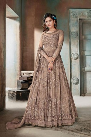 Light Brown Heavy Net Anarkali Suit