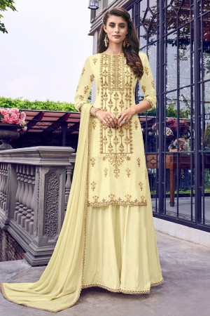 Light Yellow Heavy Faux Georgette Salwar Kameez