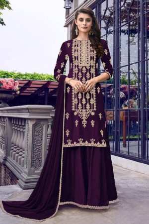 Purple Heavy Faux Georgette Salwar Kameez