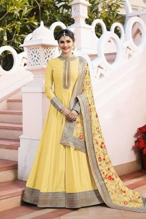 Yellow Heavy Sana Silk Salwar Kameez