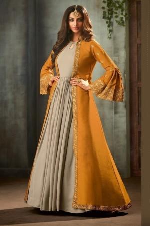 Mustard Georgette Salwar Kameez