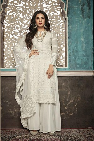 White Heavy Faux Georgette Plaazo Suit