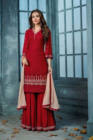 Red Heavy Faux Georgette Sharara Suit