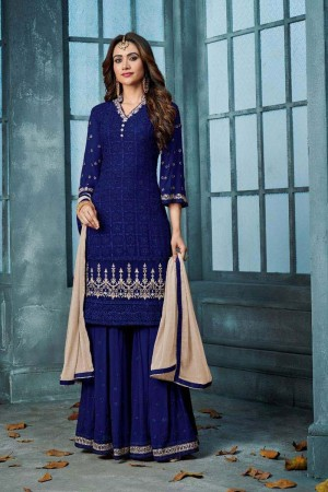 Blue Heavy Faux Georgette Sharara Suit