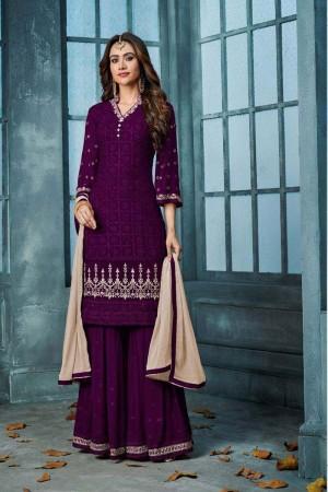 Purple Heavy Faux Georgette Sharara Suit