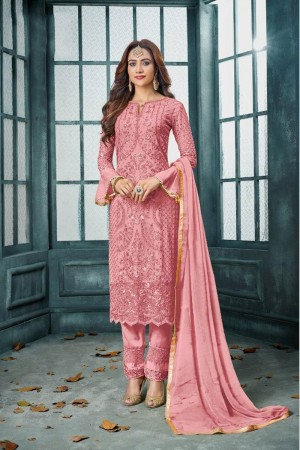 Pink Heavy Faux Georgette Churidar Suit