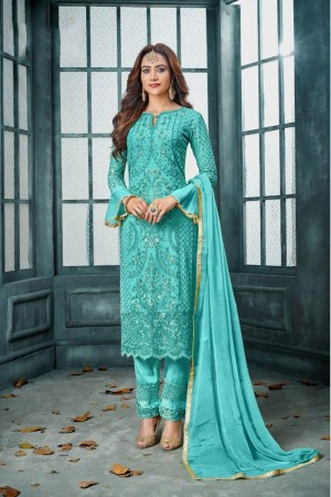 Sky Blue Heavy Faux Georgette Churidar Suit