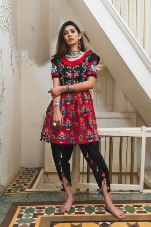 Red Khadi Cotton Kediya with Tulip Pant