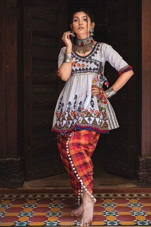 White Khadi Cotton Kediya with Tulip Pant