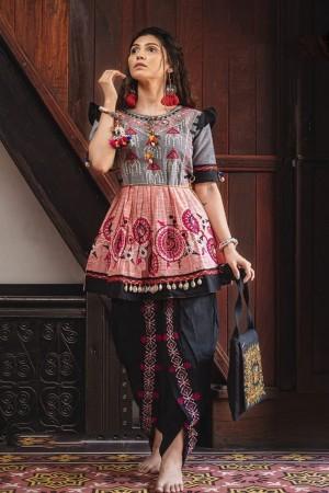 Light Grey & Light Pink Khadi Cotton Kediya with Tulip Pant