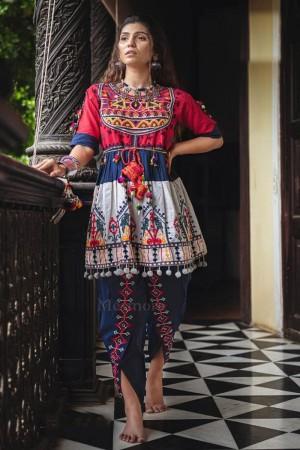Pink & White Khadi Cotton Kediya with Tulip Pant