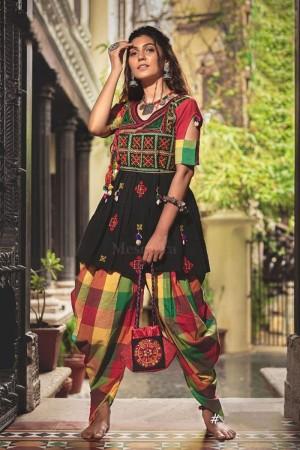 Black Khadi Cotton Kediya with Tulip Pant