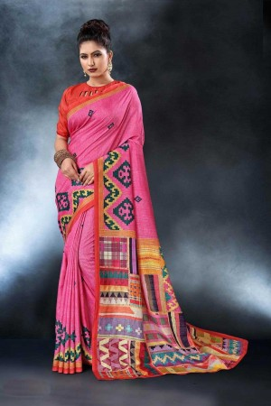 Pink Tusser Silk Saree with Blouse