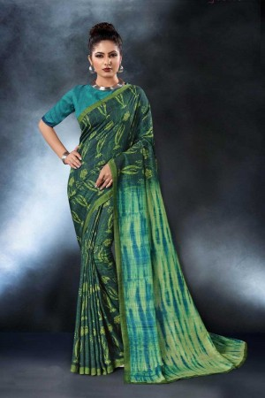 Green Tusser Silk Saree with Blouse