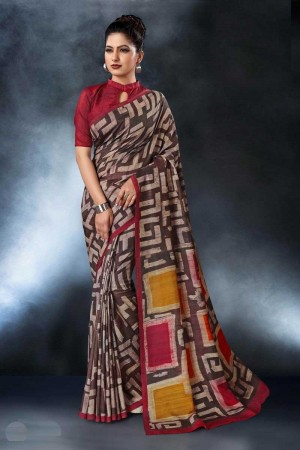 Brown Tusser Silk Saree with Blouse