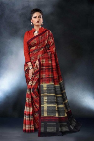 Red Tusser Silk Saree with Blouse