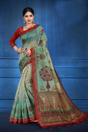 Sky Blue NEPS Fabric Saree with Blouse