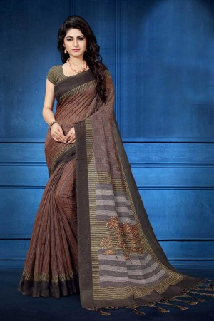 Brown Silk Saree with Blouse