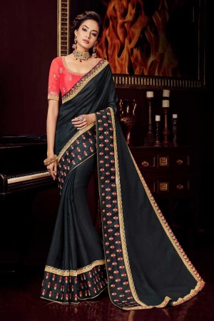 black satin Georgette Saree with Blouse