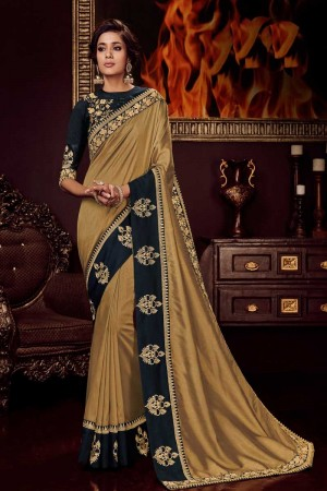 Gold satin Georgette Saree with Blouse