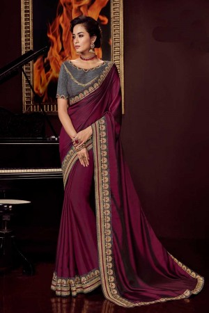 Wine satin Georgette Saree with Blouse