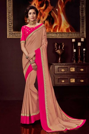 Peach satin Georgette Saree with Blouse