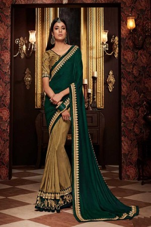 Gold and green chinon chiffon Saree with Blouse