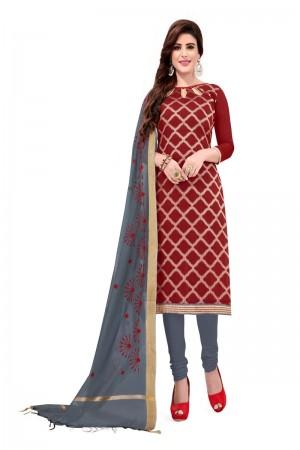 Maroon Banarasi Jacquard Dress Material