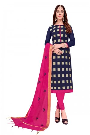 Navy Blue Banarasi Jacquard Dress Material