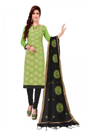Pista Banarasi Jacquard Dress Material