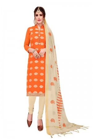 Orange Banarasi Jacquard Dress Material