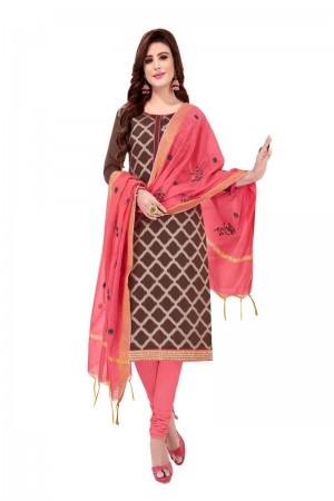 Brown Banarasi Jacquard Dress Material
