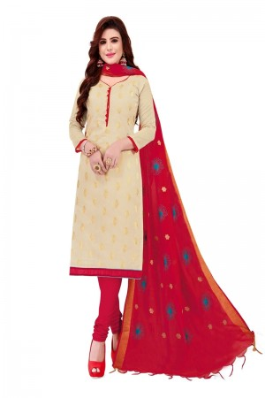 Cream Banarasi Jacquard Dress Material