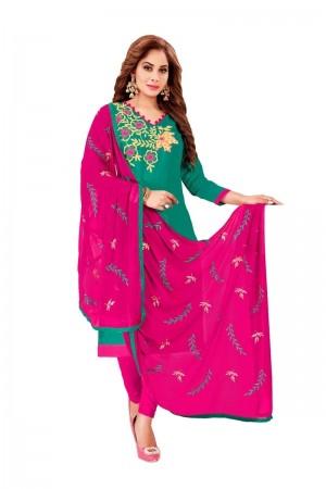 Rama green Glass Cotton Dress Material
