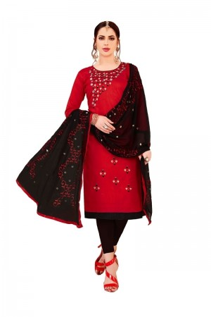 Red Glass Cotton Dress Material