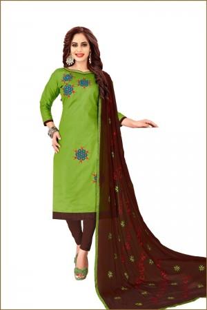 Green Glass Cotton Dress Material
