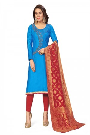 Sky Blue Jaam Cotton Dress Material